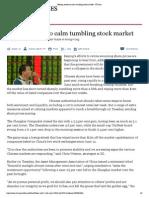 Beijing Works to Calm Tumbling Stock Market - FT