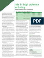 Developments in High Potency API Manufacturing