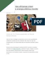 Adolescentes Africanas Criam Gerador de Energia Eltrica Movido a Urina