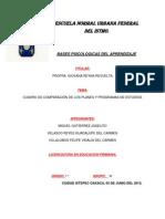 Cuadro Comparativo de Los Planes y Programas de Estudios