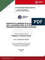 Evaluación de la satisfacción de los servicios de agua y saneamiento urbano en el Perú