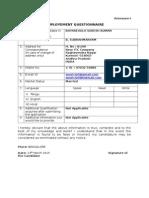 Employement Questionnaire