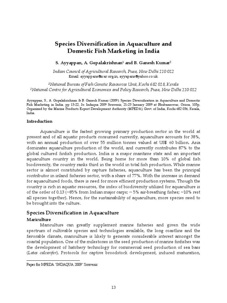Freshwater fish marketing act - Species Diversification In Aquaculture And Domestic Fish Marketing In India Indaqua Jan 2009 Souvenir Aquaculture Retail