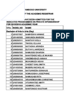 Kyambogo University Private admission List for the academic year 2015/2016. 2015-2016