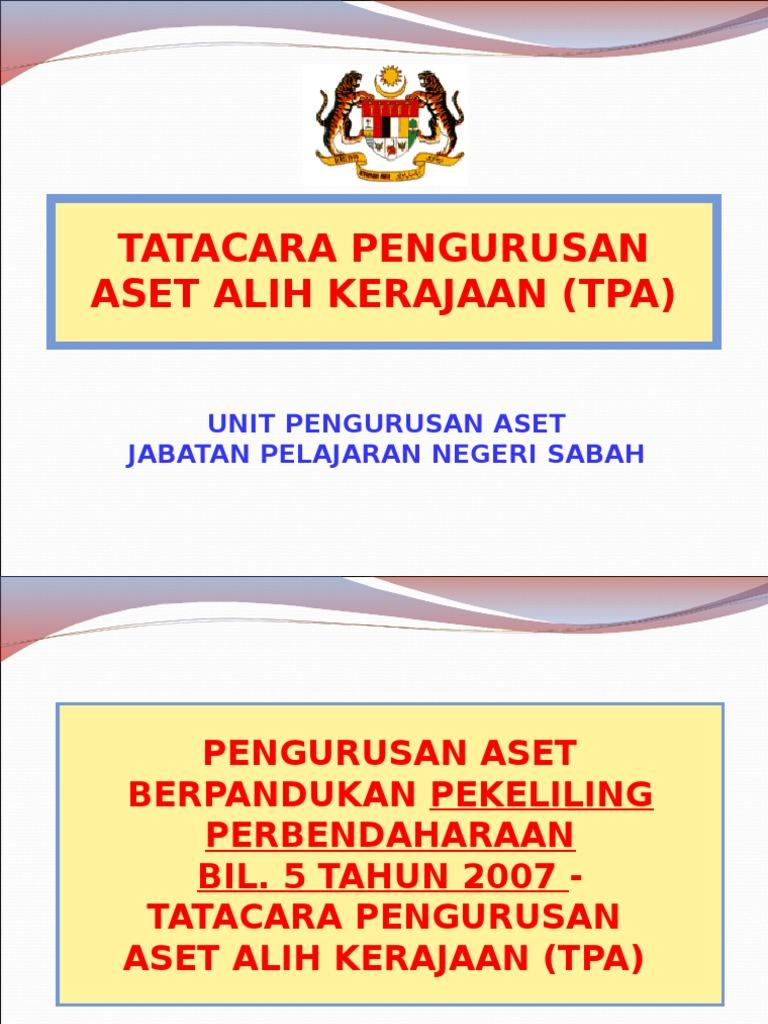 Tatacara Pengurusan Aset Jpn Sabah Ppt