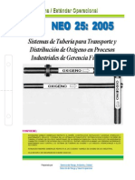 NEO-25 Sistemas de Tuberías Para Transporte y Distribución de Oxígeno en Procesos Industriales De
