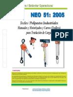 NEO-51 Tecles Polipastos Industriales Manuales, Motorizados y Carros (Trolleys) Para Traslación