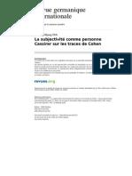 Cassirer Cohen