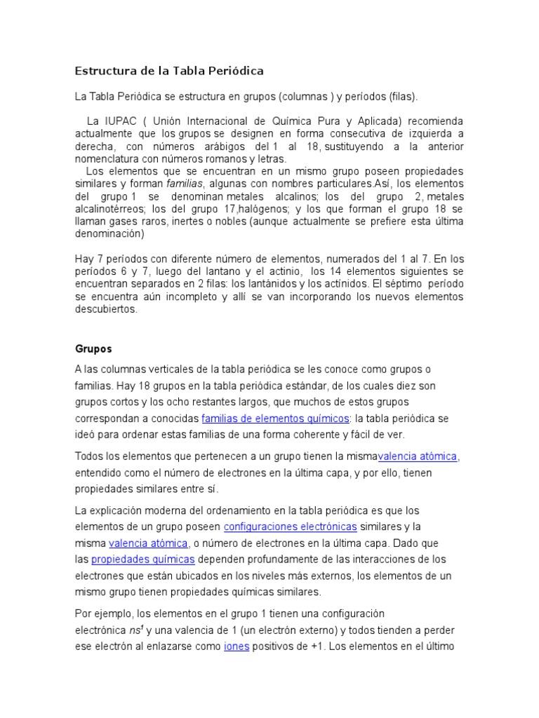 Estructura de la tabla peridicacx urtaz Choice Image