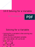10-5 Solving for a Variable