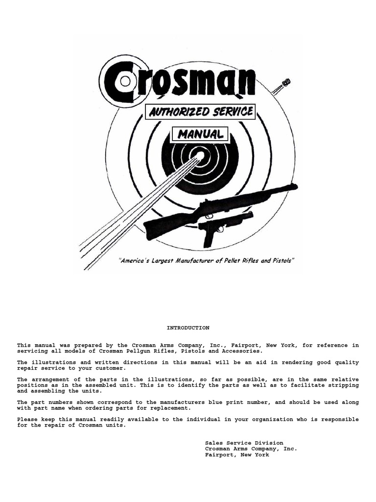 Crosman Service Manual 1960s Book | Gun Barrel | Valve