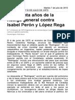 A Cuarenta Años de La Huelga General Contra Isabel Perón y López Rega