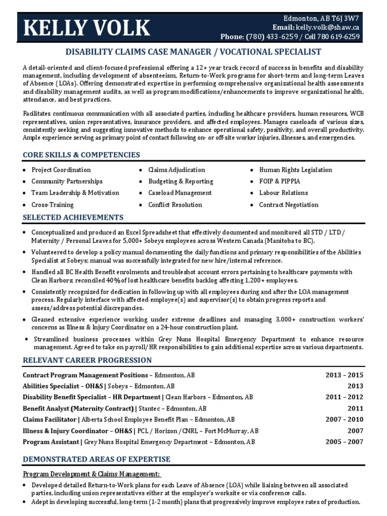 Famous Disability Management Resume Edmonton Motif - Best Resume ...