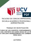 Estudio de Los Agentes Contaminantes en El Mar Del Distrito de Santa Rosa de La Provincia de Chiclayo Departamento de Lambayeque – Perú 2015
