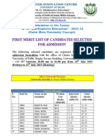 First Merit List for admission in Meta University Course M.Sc. (Mathematics Education)