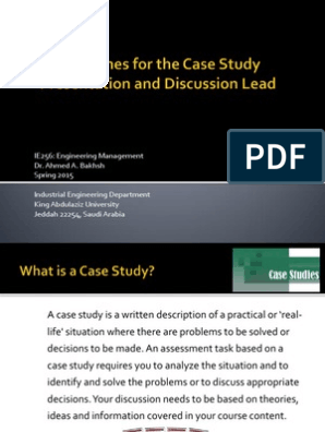Guidelines for the Case Study Presentation and Discussion