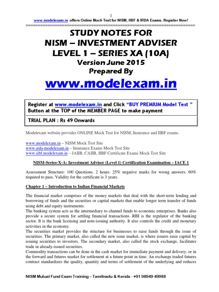 Workbooks jaiib workbook : NISM Investment Adviser Study Material | Option (Finance) | Asset ...