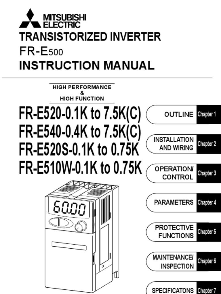 Inverter Mitsubishi FR-E500 Intruction Manual | Electrical Wiring ...