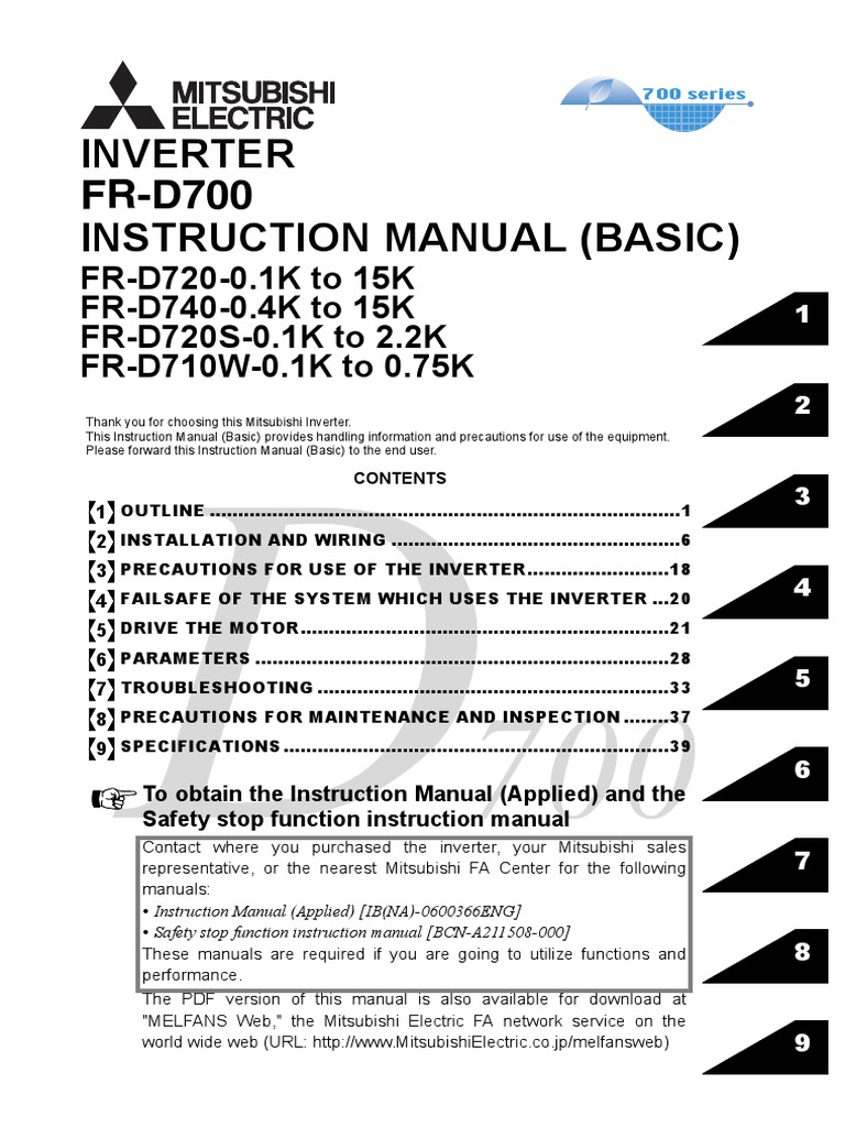 Mitsubishi Inverter Wiring Diagram Vn Alternator D700 All Diagraminverter Fr Instruction Manualbasic Pdf