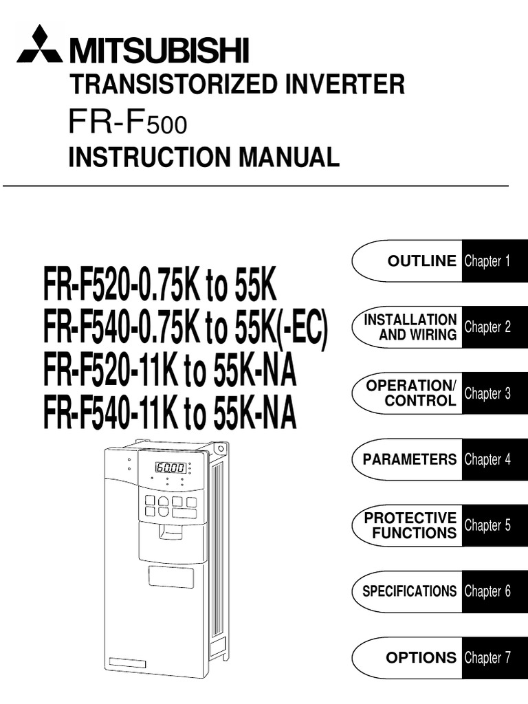 Inverter Mitsubishi FR-F500 Intruction Manual   Electrical Connector   Electrical  Wiring