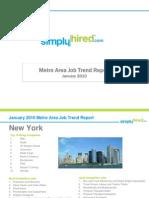 Metro Area Job Trend Report - January 2010