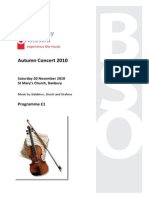 Programme for Autumn 2010 Concert DRAFT 1