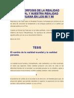 Metamorfosis de La Realidad Mundial y Nuestra Realidad Peruana