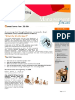 Questions for 2010 - Jan 2010 E-Newsletter