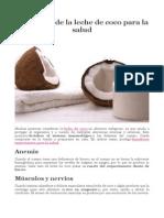 Beneficios de La Leche de Coco Para La Salud