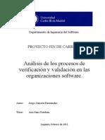 Análisis de Los Procesos de Verificación y Validación en Las Organizaciones Software.