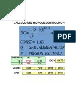 Calculo de Hidrociclones