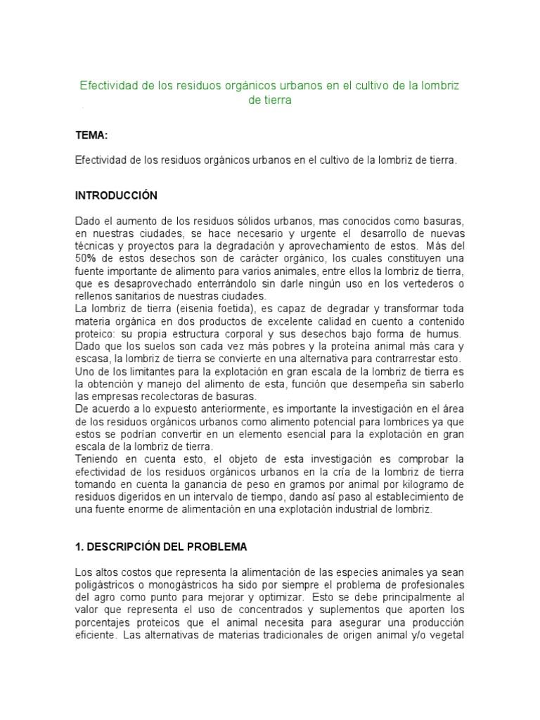 Efectividad de Los Residuos Orgánicos Urbanos en El Cultivo de La ...