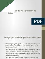 Lenguajes de Manipulacion de Datos y Algebra Relacional