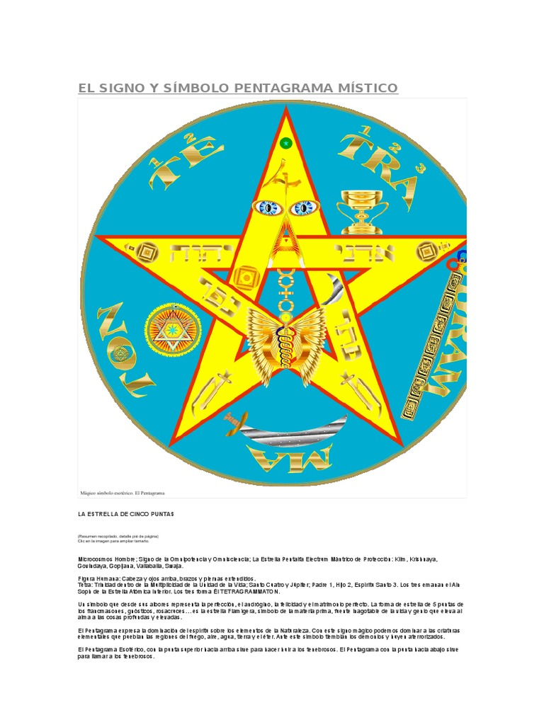 El Signo y Símbolo Pentagrama Místico 9e6e9104026b8