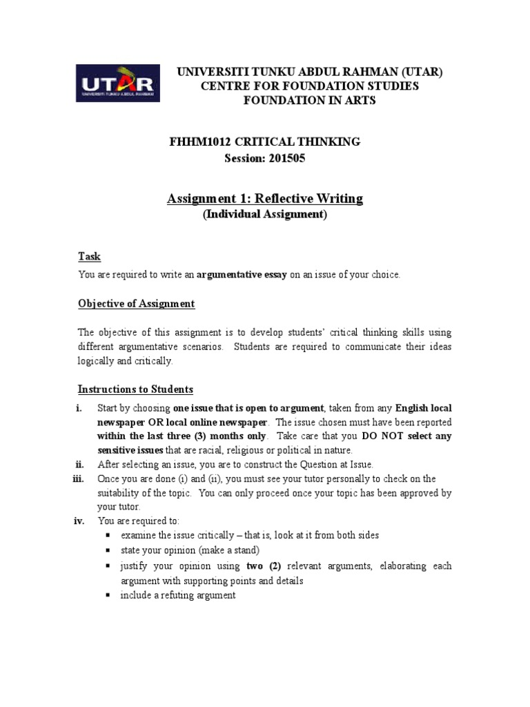 critical thinking assignment utar