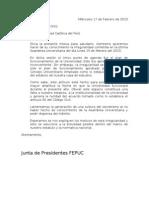 Carta a rector y secretario general PUCP