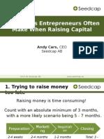 10 Mistakes When Raising Capital
