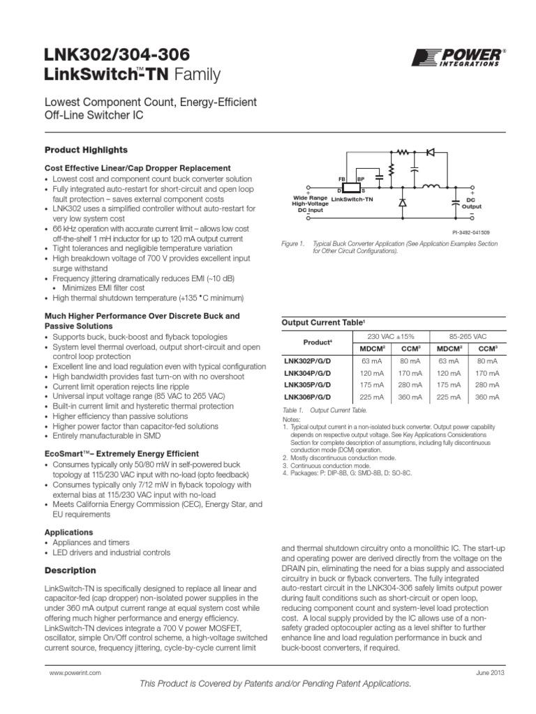 Lnk302 304 306 179954 Mosfet Capacitor High Power Buck Converter