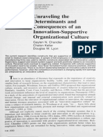 Unraveling the determinants and consequences of an innovation-supportive organizational culture - Chandler, Keller and Lyon