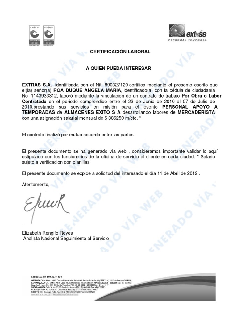 formato carta laboral en word - Pertamini.co