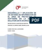 Desarrollo y Aplicación de Un Sistema de Informacion en Elarea de Proyectos de Software en La Empresa Solution Data Source