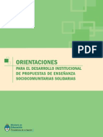 MECyT - Orientaciones Para El Desarrollo Institucional de Propuestas de Enseñanza Sociocomunitarias Solidaras