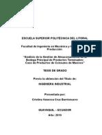 Análisis de La Gestión de Almacenamiento de La Bodega Principal de Productos Terminados