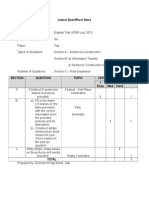 Jadual Spesifikasi Items