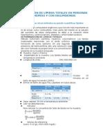 Determinación de Lípidos Totales en Personas Normopeso y Con Dislipidemias
