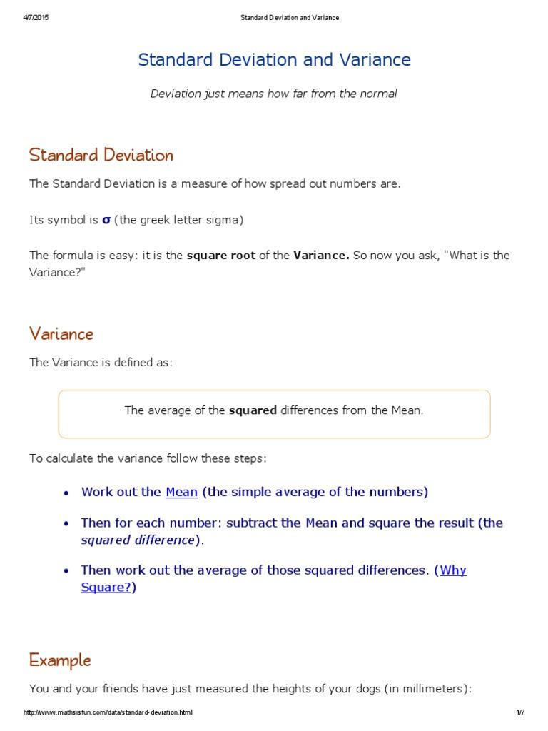 Standard Deviation And Variance Standard Deviation Variance