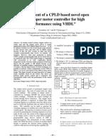"""Development of a CPLD Based Novel Open Loop Stepper Motor Controller for High Performance Using VHDL"""