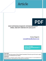Exit Options in Equity Investments in India Recent Issues on Legality