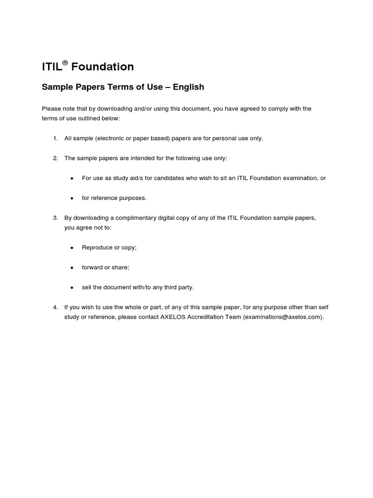 Itil Foundation Examination Samplea Answersandrationales V51 Itil