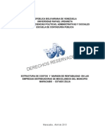 ESTRUCTURA DE COSTOS Y MARGEN DE RENTABILIDAD EN LAS EMPRESAS DISTRIBUIDORAS DE MISCELANEOS DEL MUNICIPIO MARACAIBO - ESTADO ZULIA